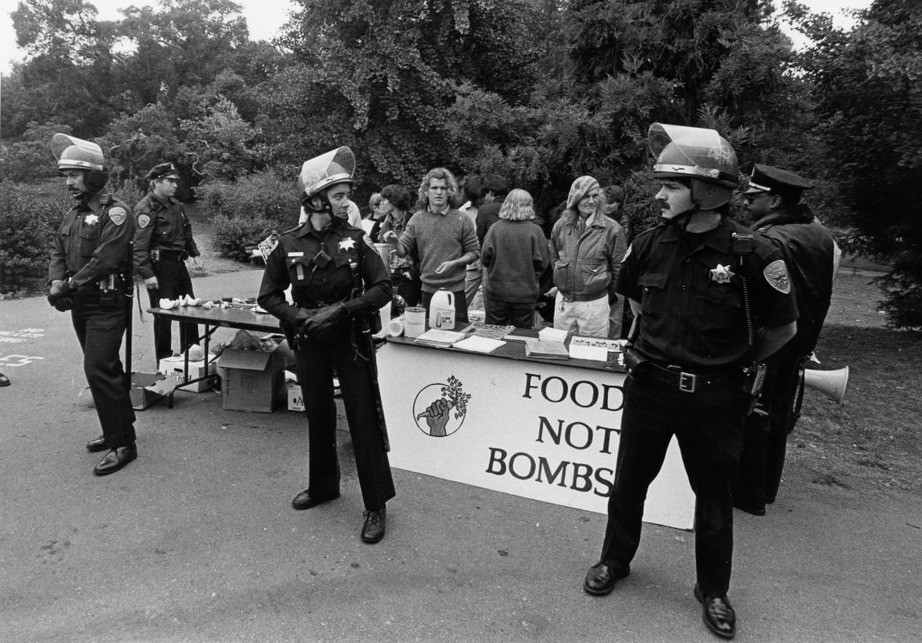 The first arrests of Food Not Bombs participants for sharing free meals at Golden Gate Park.