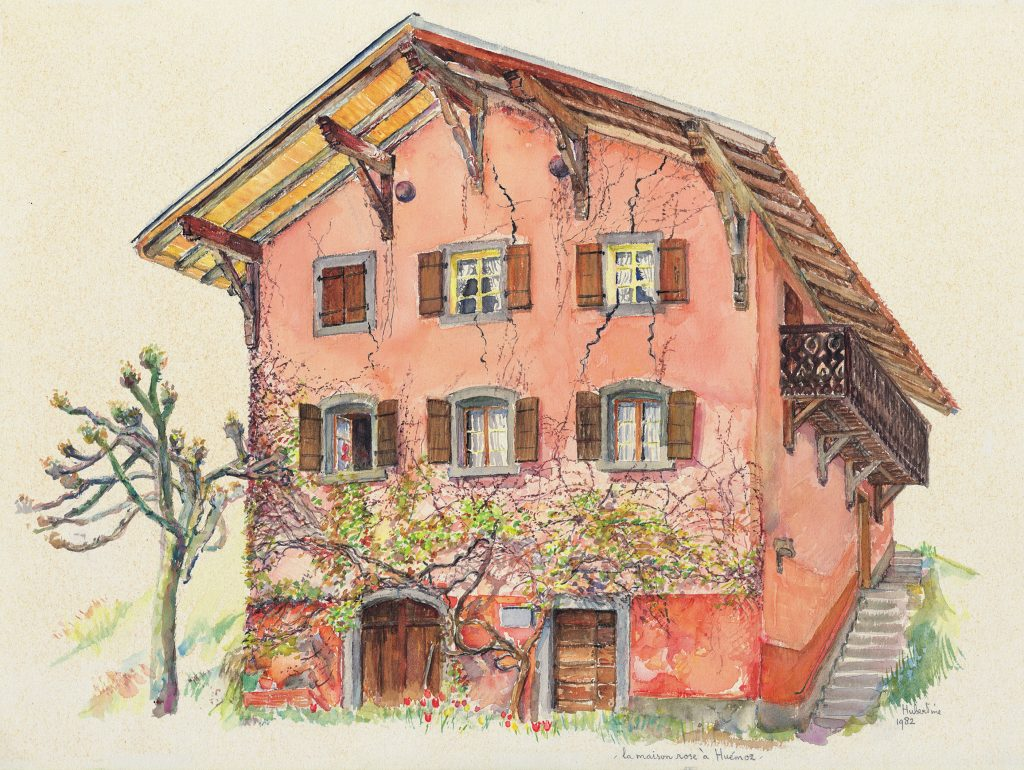 A watercolor drawing of a large pink home with ivy growing up the face.