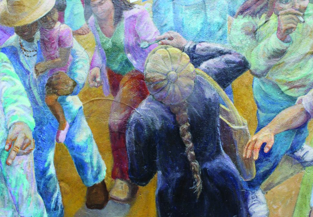"""Julia blows bubbles in her cameo in the """"History of People's Park"""" mural on Berkeley's Haste Street."""