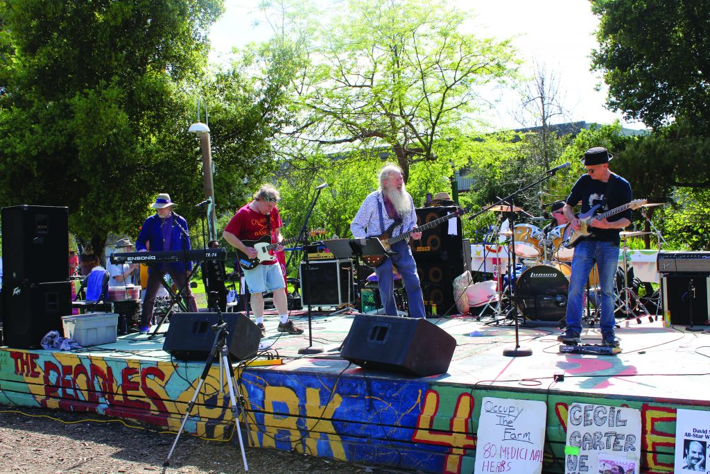 Berkeley band Dapper Shindig performs on the People's Park stage on April 13.
