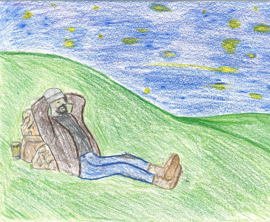 A drawing of a homeless man lying with his arms behind his back on a grassy hill, looking at the stars.
