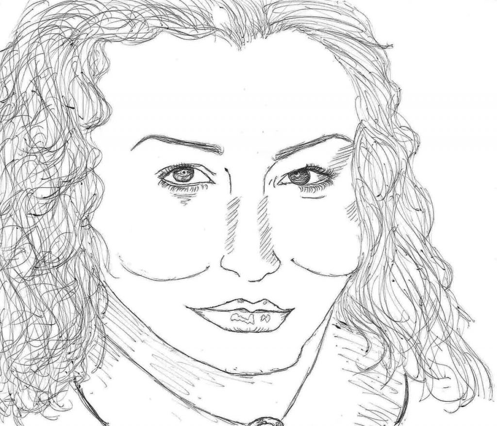 A drawing of the author, Meg Elison.