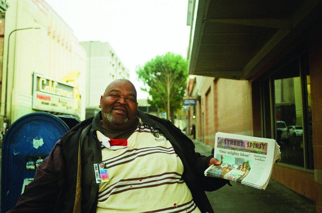 Olantis Livingston selling Street Spirit.