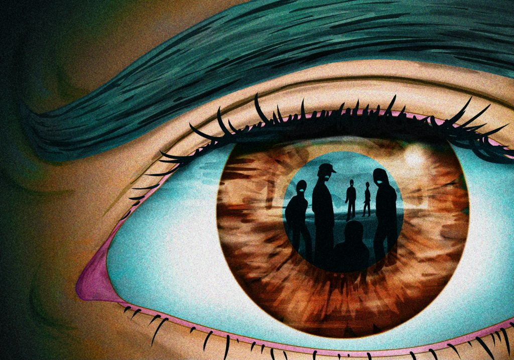 An illustration of an eye up close. In the reflection, you can see angry looking people looking in.