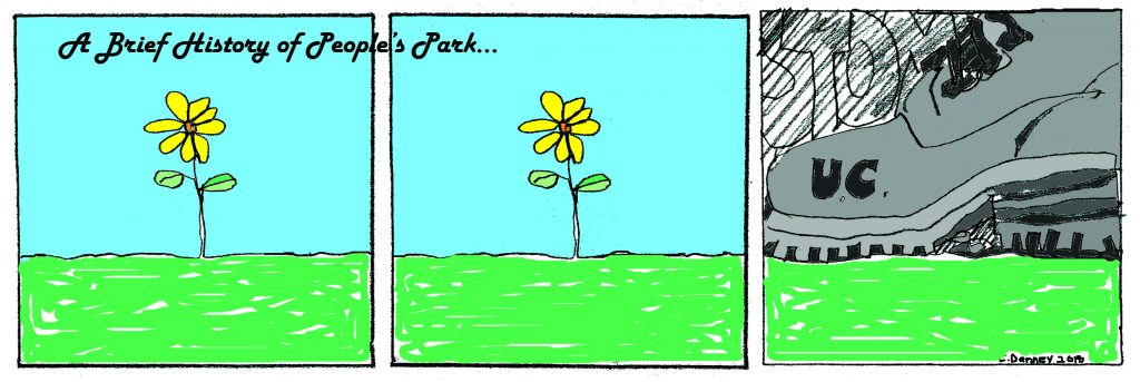 """A cartoon-like illustration. The first two panels contain a yellow flower. In the third panel, a large grey boot with the word """"UC"""" on it stomps on the flowers"""