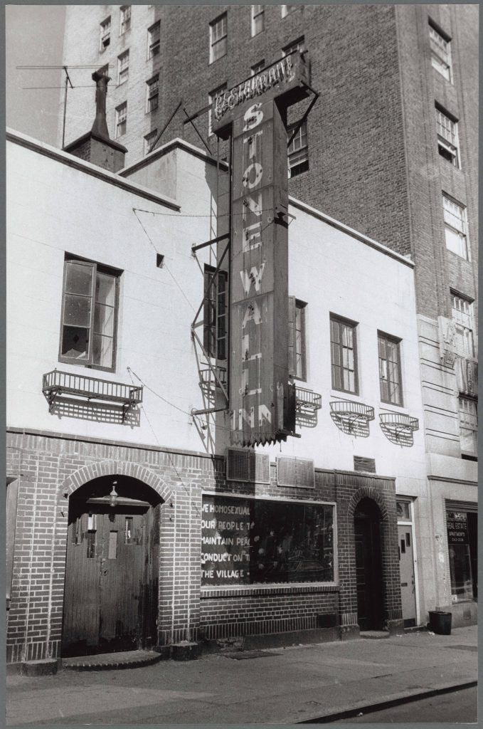 A black and white photo of the Stonewall Inn in 1969.