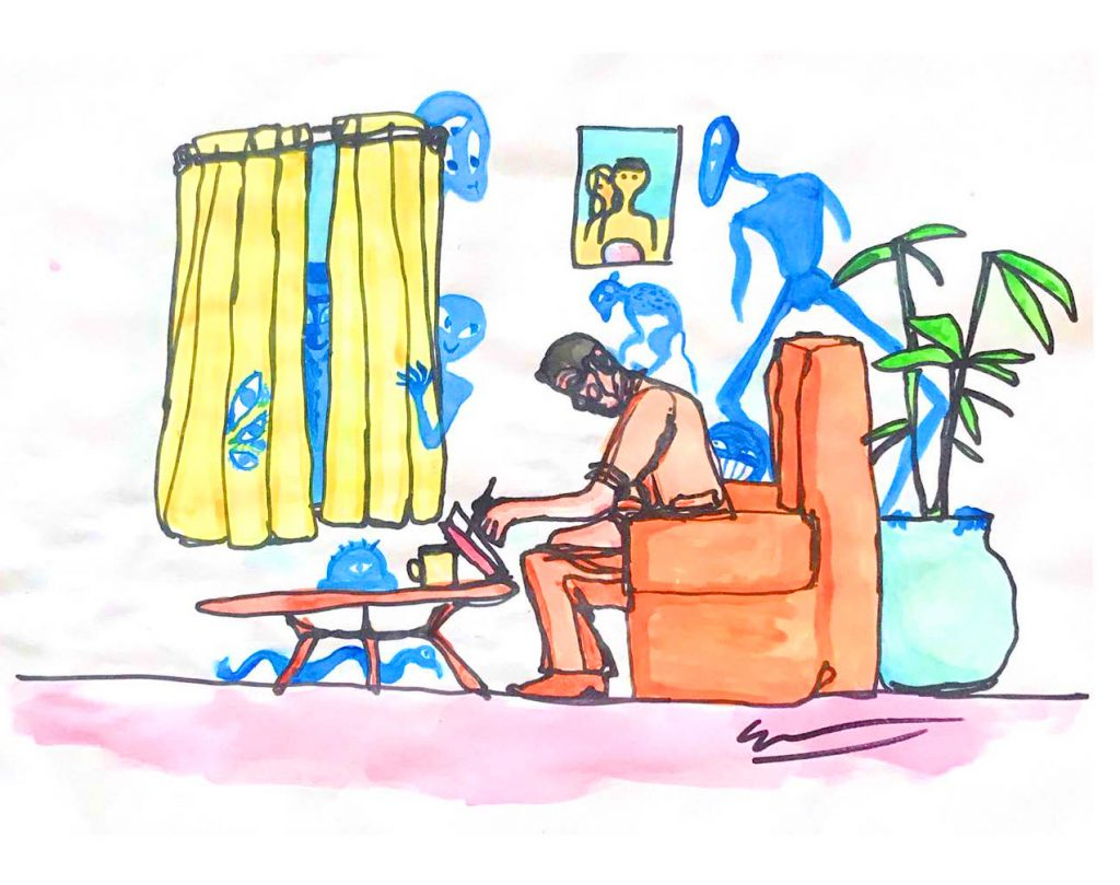 A watercolor painting of a man sitting in a chair and writing. Friendly looking alien-like creatures lurk in the background.