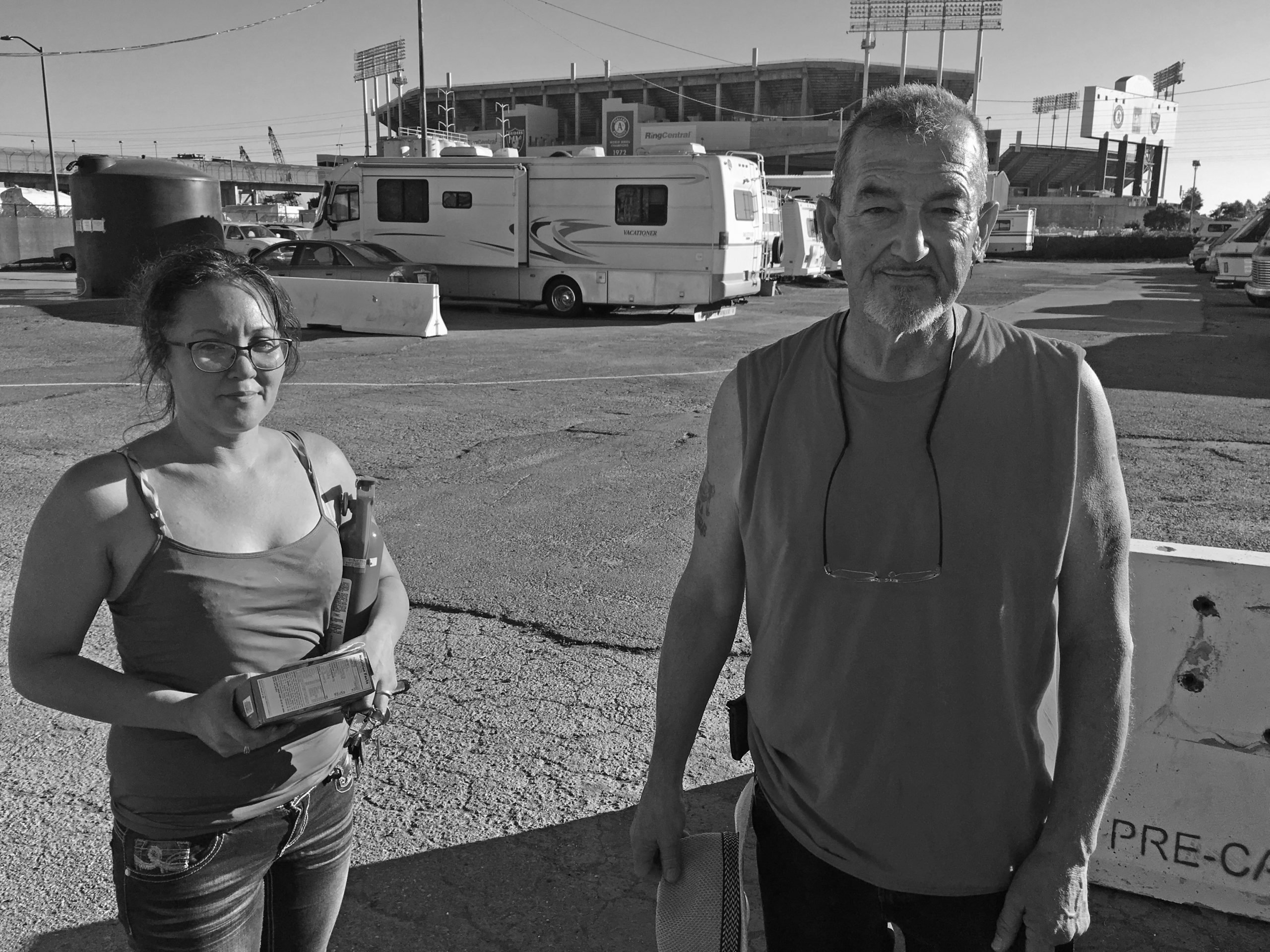 Jade Joga (left) and Jorge Peña (right) at the RV site.