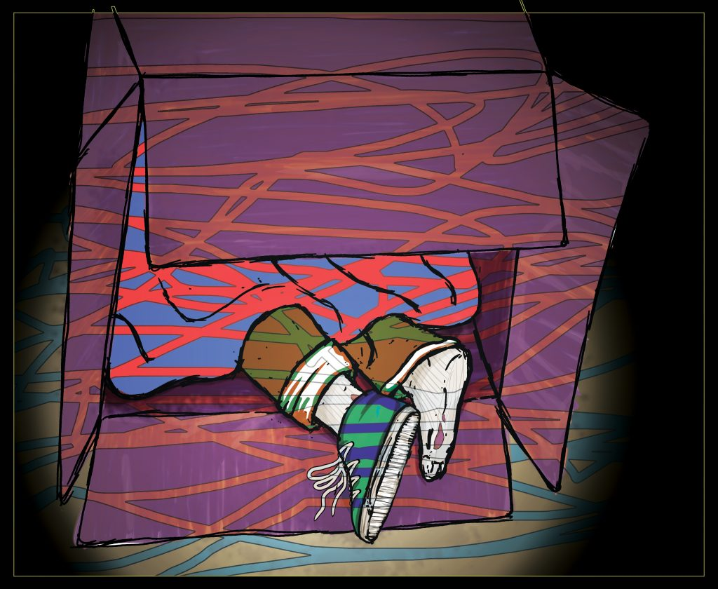An illustration of a pair of feet sticking out of a cardboard box.
