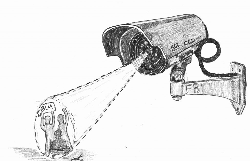 A pencil drawing of a CDC camera watching BLM protestors.