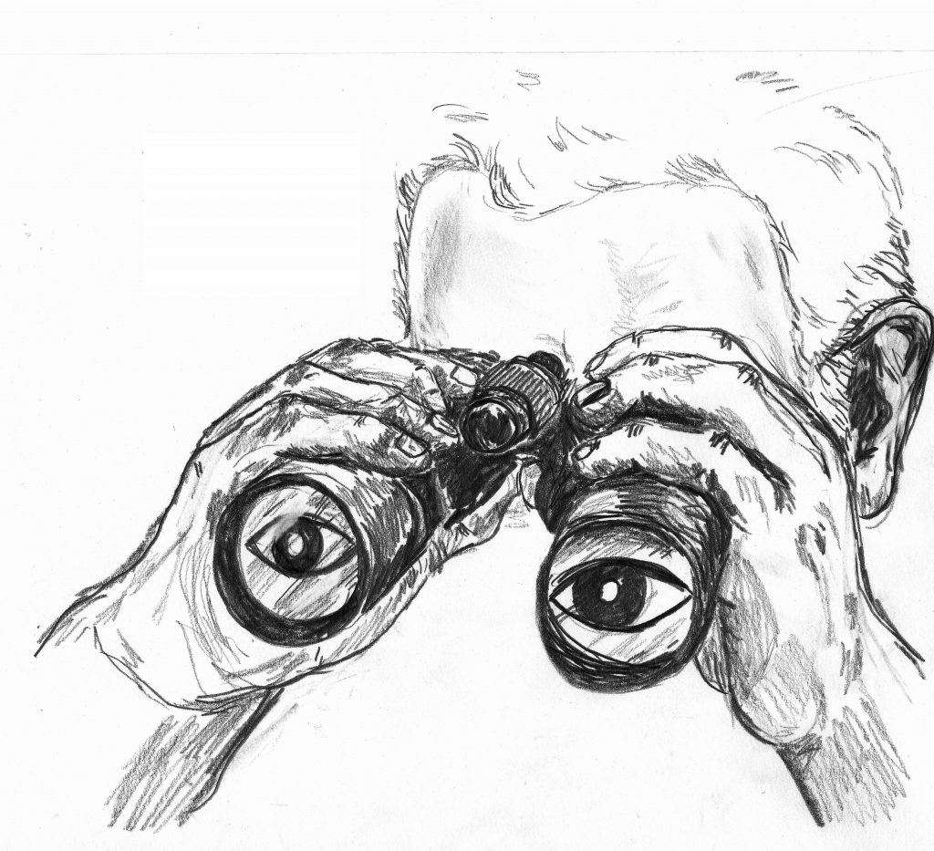 A pencil drawing of a person looking through binoculars.