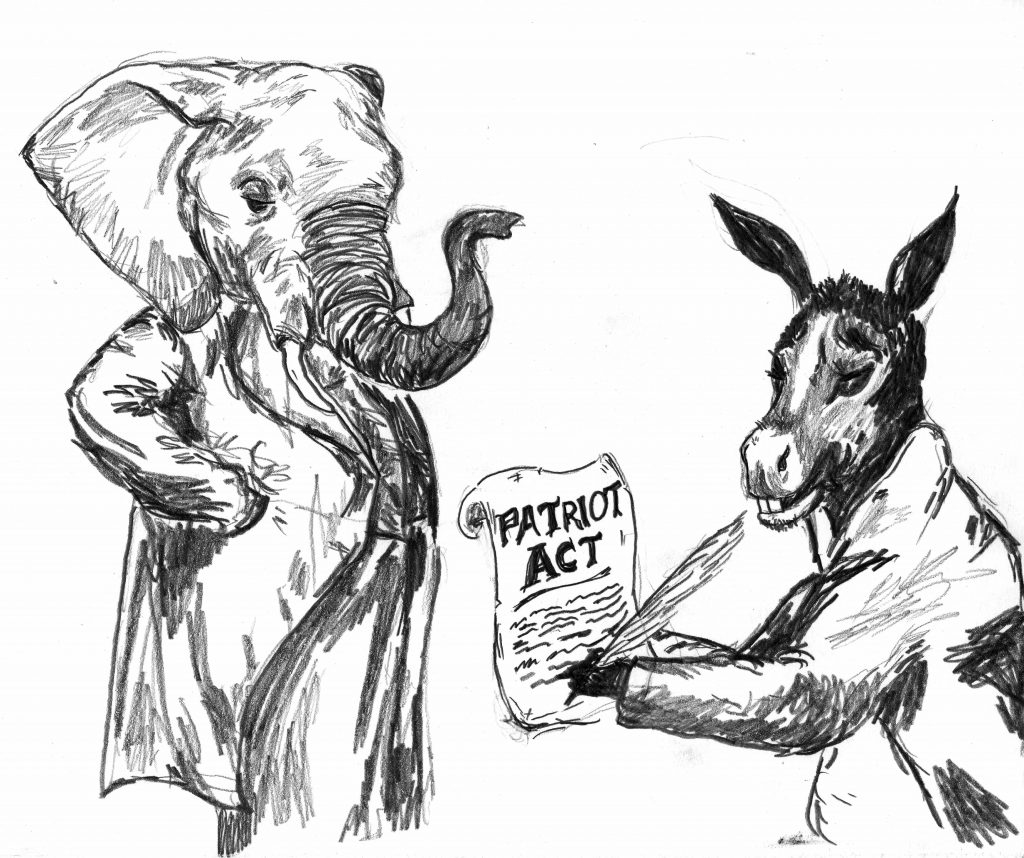 "A pencil drawing of an elephant looking on at a donkey signing a document titled ""Patriot Act"""