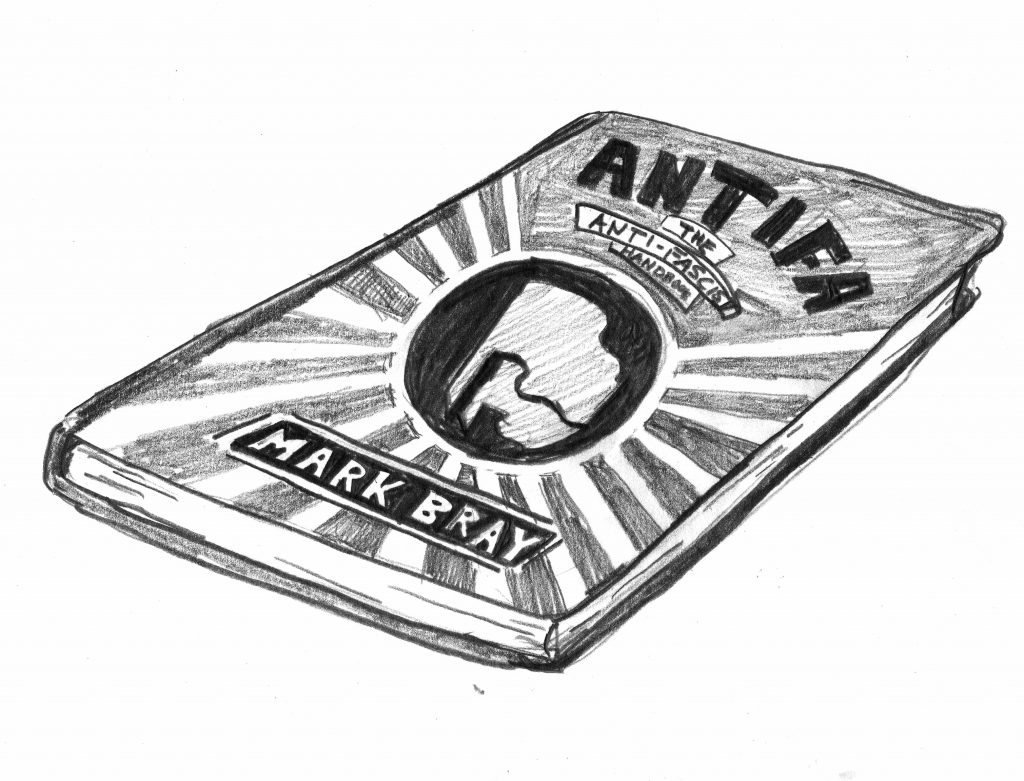 A pencil drawing of a book by Mark Bray called Antifa.
