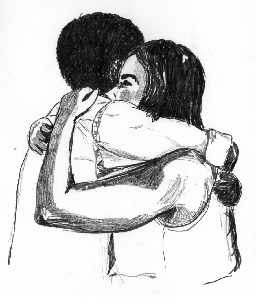 A pencil drawing of two people hugging.