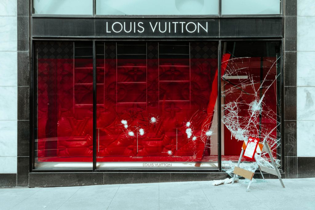 Broken windows at the Union Square Louis Vuitton store on Union Square.