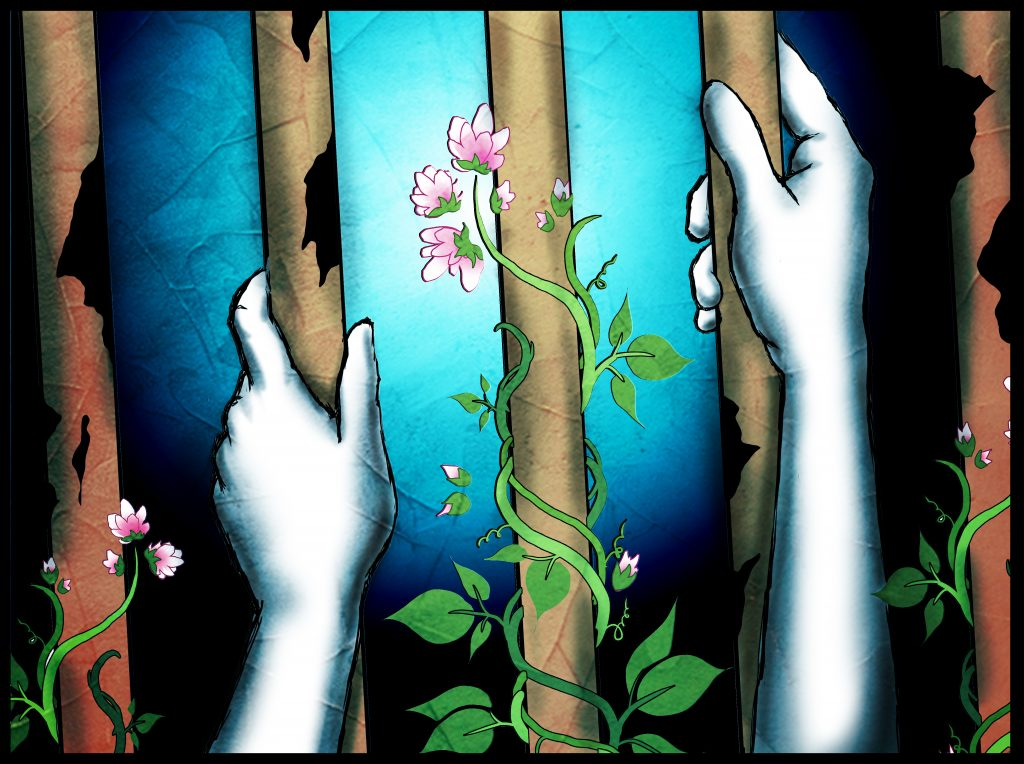 A digital illustration of hands holding onto prison bars with flowers and vines growing up the sides and middle.