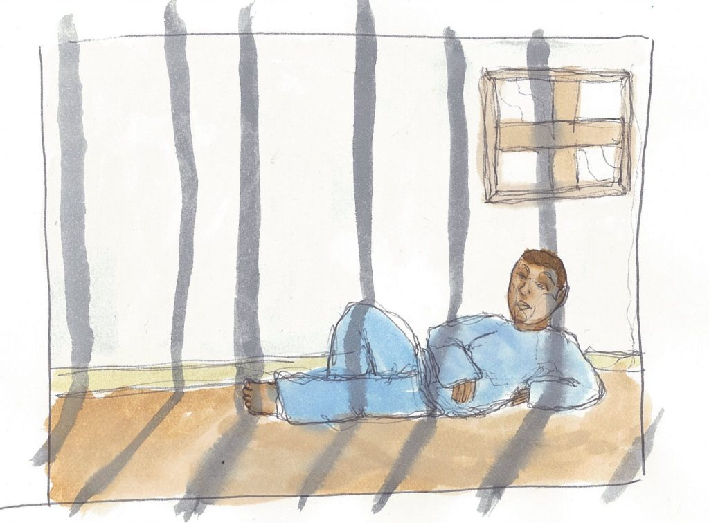 A watercolor of someone sitting in a prison cell. By Enera Wilson.