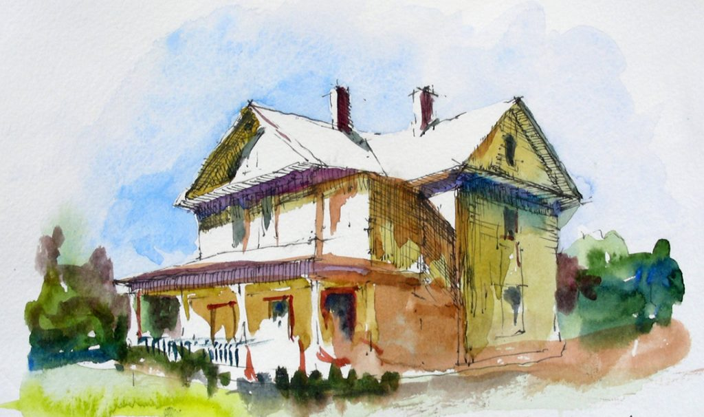 A watercolor image of a house.