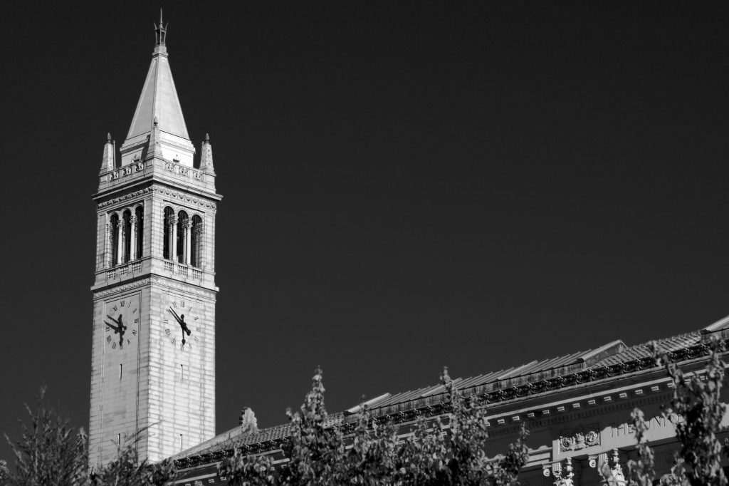 A black and white image of the UC Berkeley Campanile.