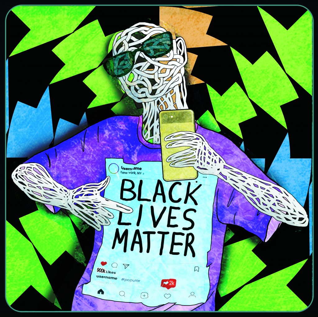 "A digital image of a skeleton with a shirt that has a photo of an instagram post that ""black lives matter"", pointing to themselves."