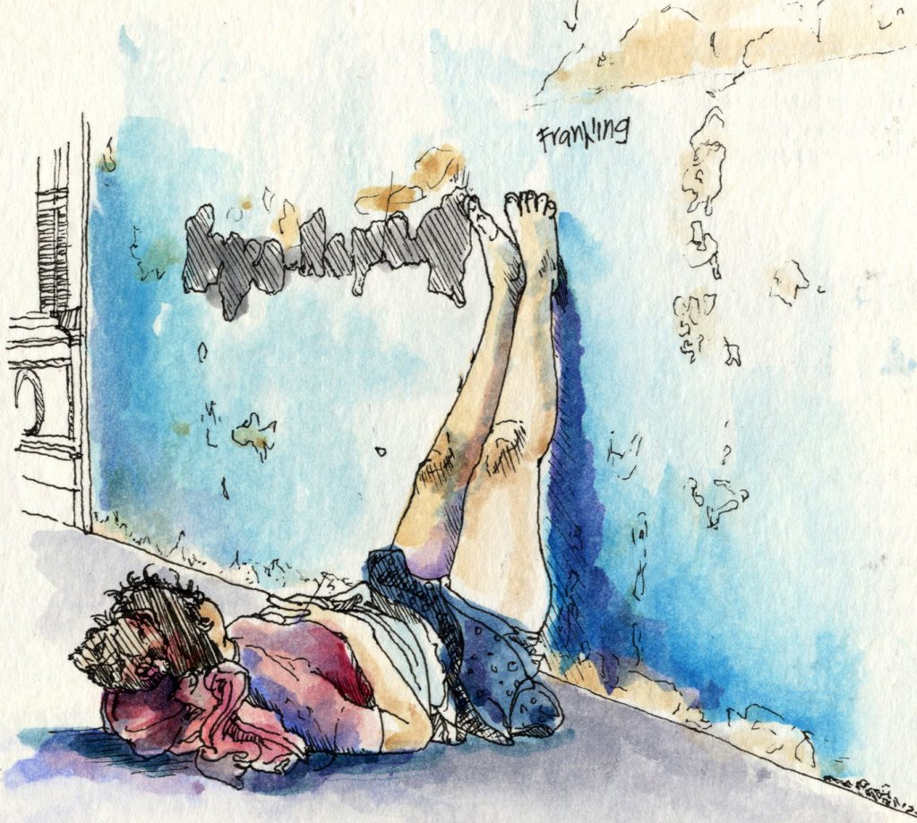 A watercolor of a homeless woman laying on the ground on her back and props her feet up against the wall.