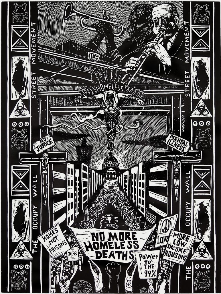 """A large lino cut mage with lots of different scenes. The image is black and white. At the top there are people playing music. At the bottom there's a huge march in the street to a city hall building. people are holding signs that say things like """"homes not prisons"""" and """"no more homeless deaths."""""""