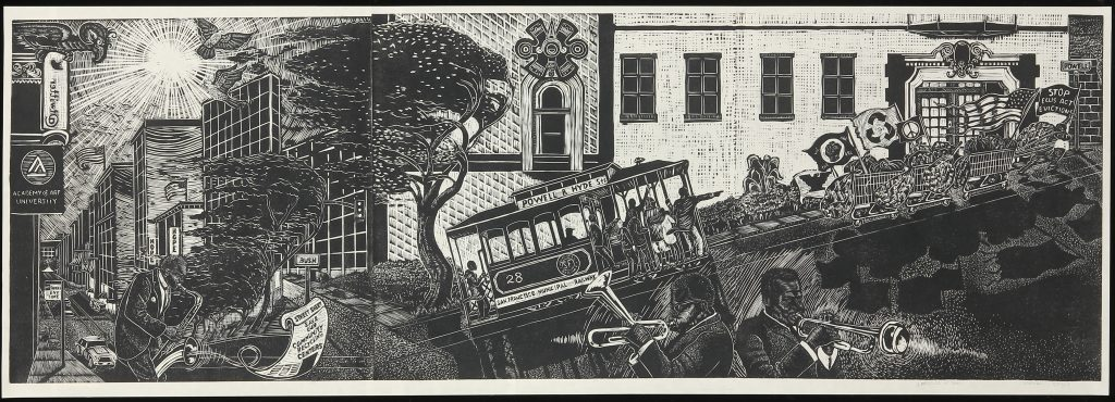 A lino cut image of jazz musicians playing horn instruments on the streets of San Francisco. In the background a trolley passes by holding protestors carrying flags.