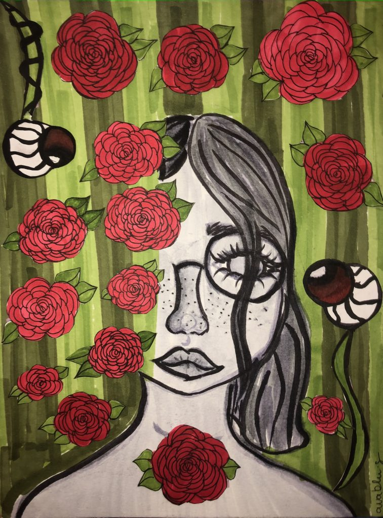 Abstract drawing of a girl with freckles surrounded by roses and eyeballs.