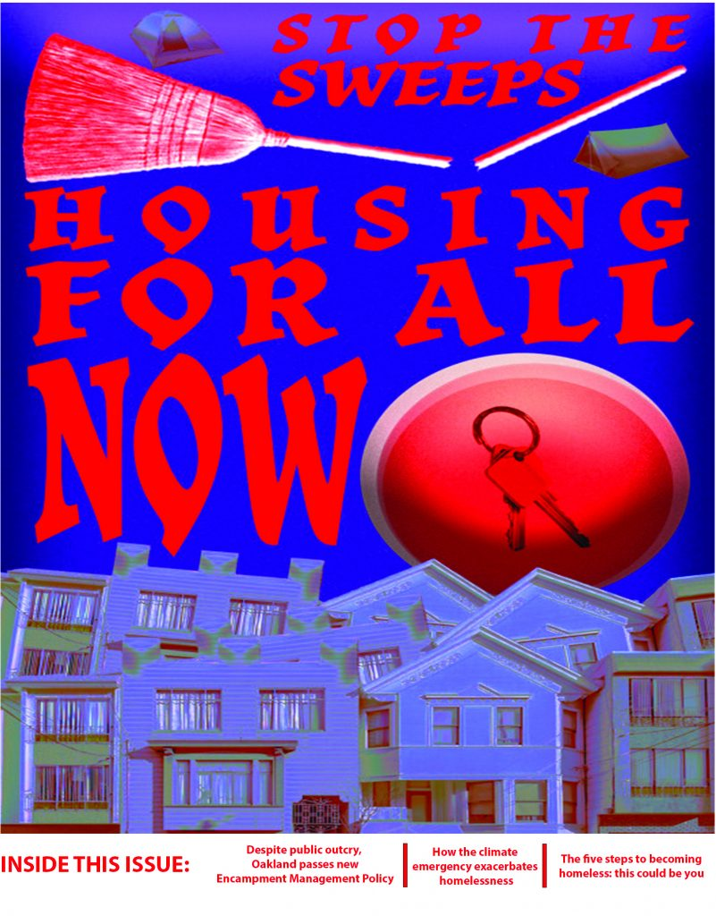 """A purple background with the text """"stop the sweeps, housing for all"""" on the front in red. There are images of a broken broom, a tent, and houses below."""