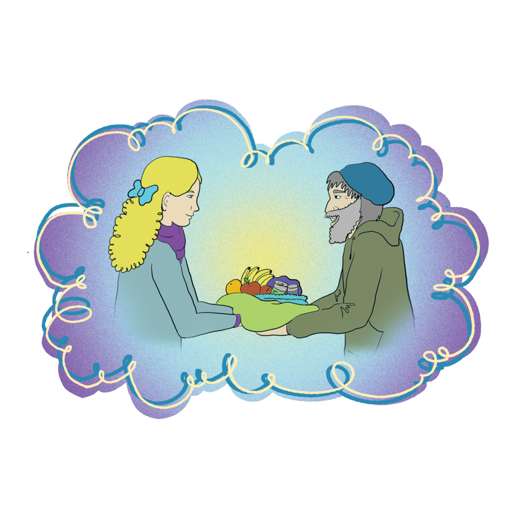 A digital image of a woman handing a bundle of food to an unsheltered man.