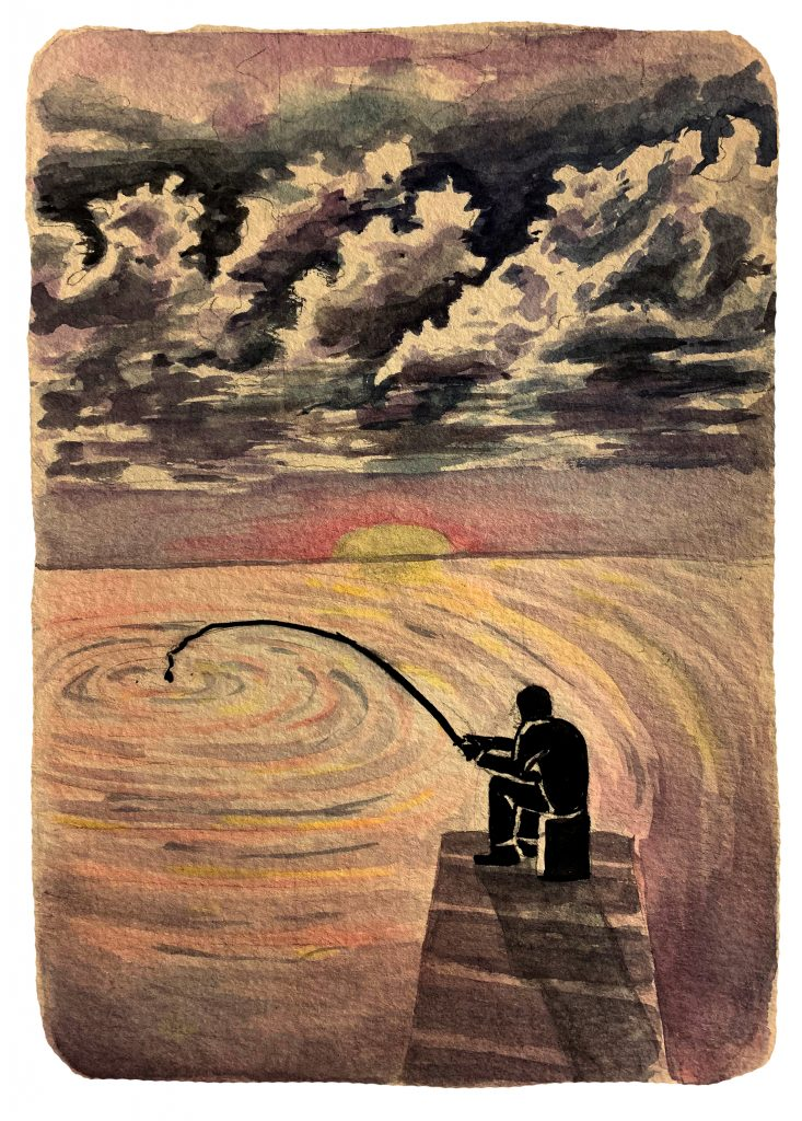 A watercolor painting of a person fishing in the ocean. The ocean is brightly colored and the sun is setting. Stormy clouds are overhead.