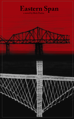 The cover of Eastern span: a sketching of the Bay Bridge with a red and black background