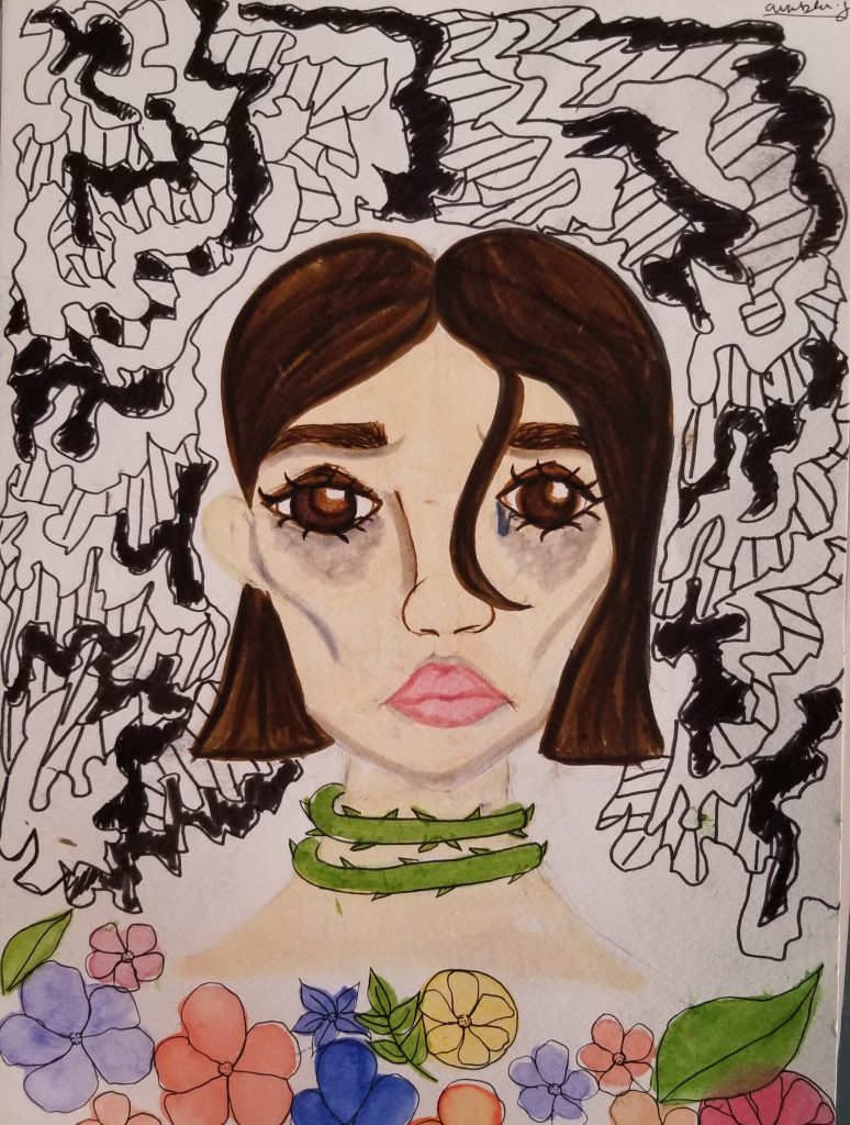 Illustration of a woman with brown hair and one tear drop coming from her right eye. There is a vine around her neck and flowers at the bottom of the frame.