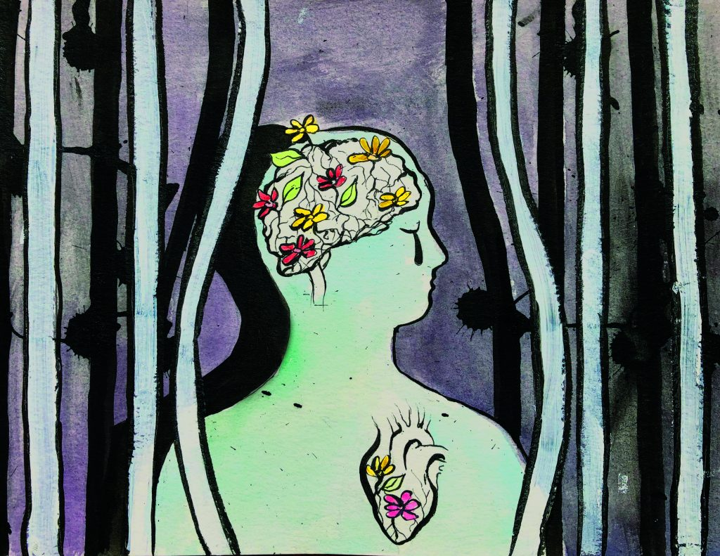 An illustration of a person in profile with their head turned to the right. Their eyes are closed and there is one teardrop on their face. Their brain and heart are represented in the image as bunches of flowers.