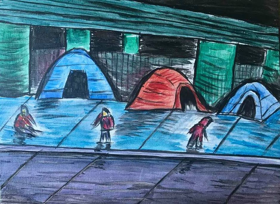 A painting of three tents on the sidewalk with three abstract images of people standing in front of them. The tents are blue, red, and blue.