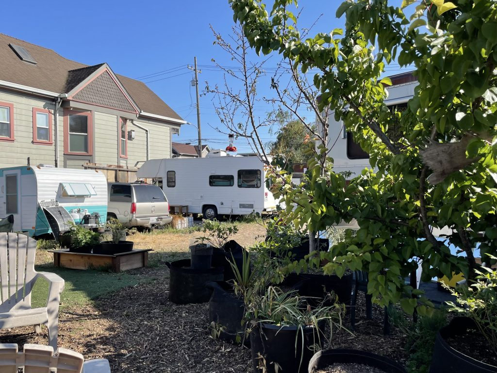 Potted plants and greenery make up the Neighborship garden. In the background, three RVs and cars can be seen.