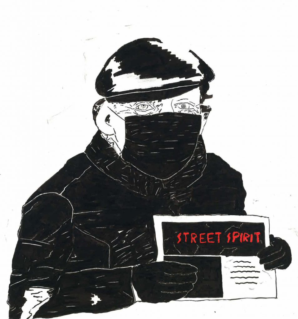 A drawing of Jeremy Caughlan, a white man in a black sweatshirt holding up a copy of the newspaper.