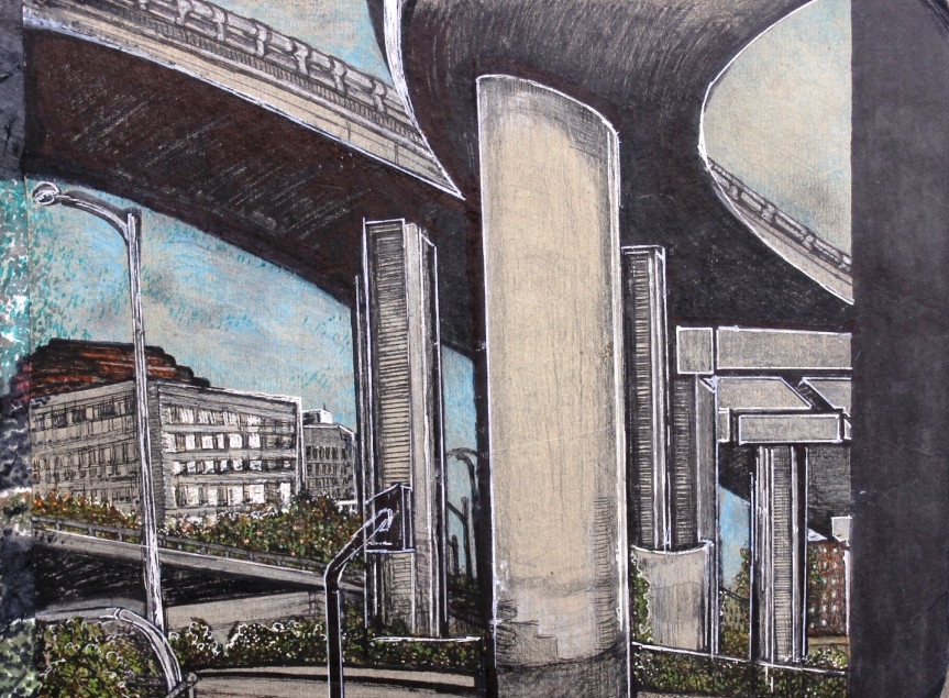 A colored pencil drawing of the MacArthur Maze: a grey maze of highway overpasses in Oakland.