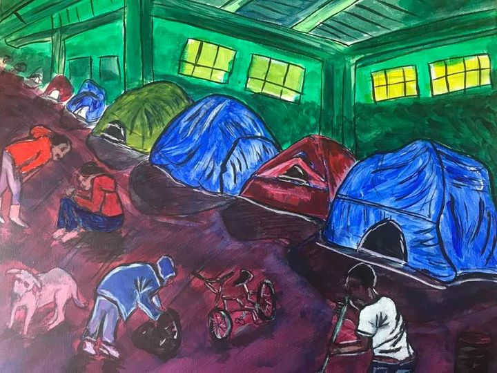 A painting of a homeless encampment: several tents in a row with people out front, some sitting and talking to each other, some cleaning with a broom, some hunched over. There is also a dog and a bicycle in the foreground. The image is bright and colorful.