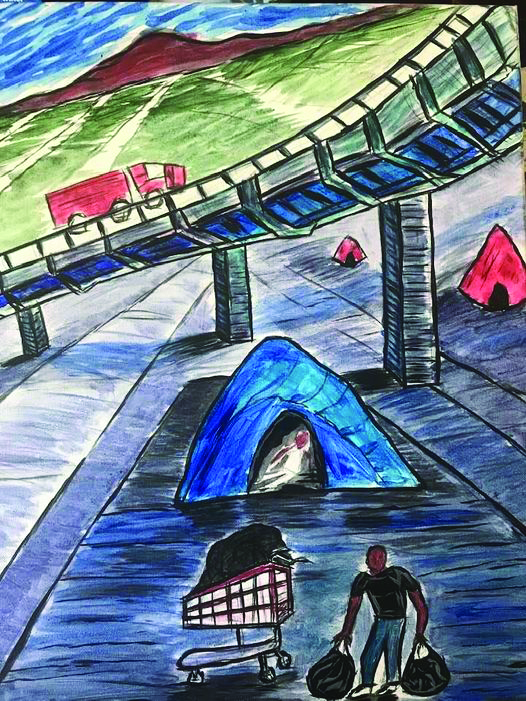 A colored pencil drawing of tents under a highway overpass. Outside a blue tent, a Black man holds two backpacks next to a shopping tent. Red tents can be seen in the background. Above, a truck drives over the overpass.
