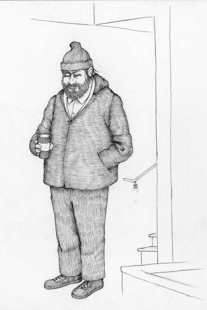 A sketch of a man in a big coat with his eyes closed and one hand in his pocket, holding a cup of coffee.