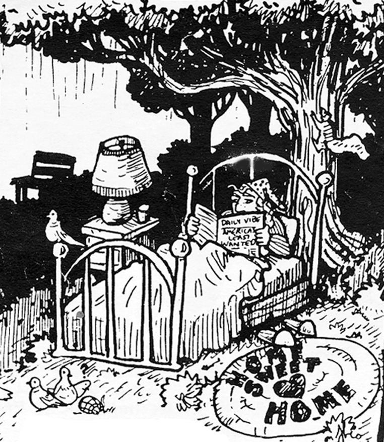 """A black and white drawing of a person in bed outside in the woods. Beside them is a bedside table with a lamp on it. Above them is a tree with a squirrel climbing up it. Next to the bed there is a family of birds next to a rug that reads """"home sweet home"""""""