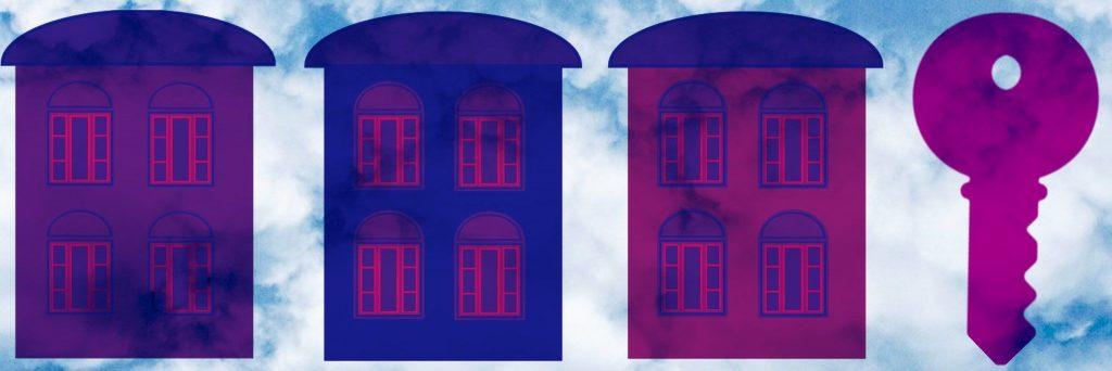A digital image of three houses and a house key