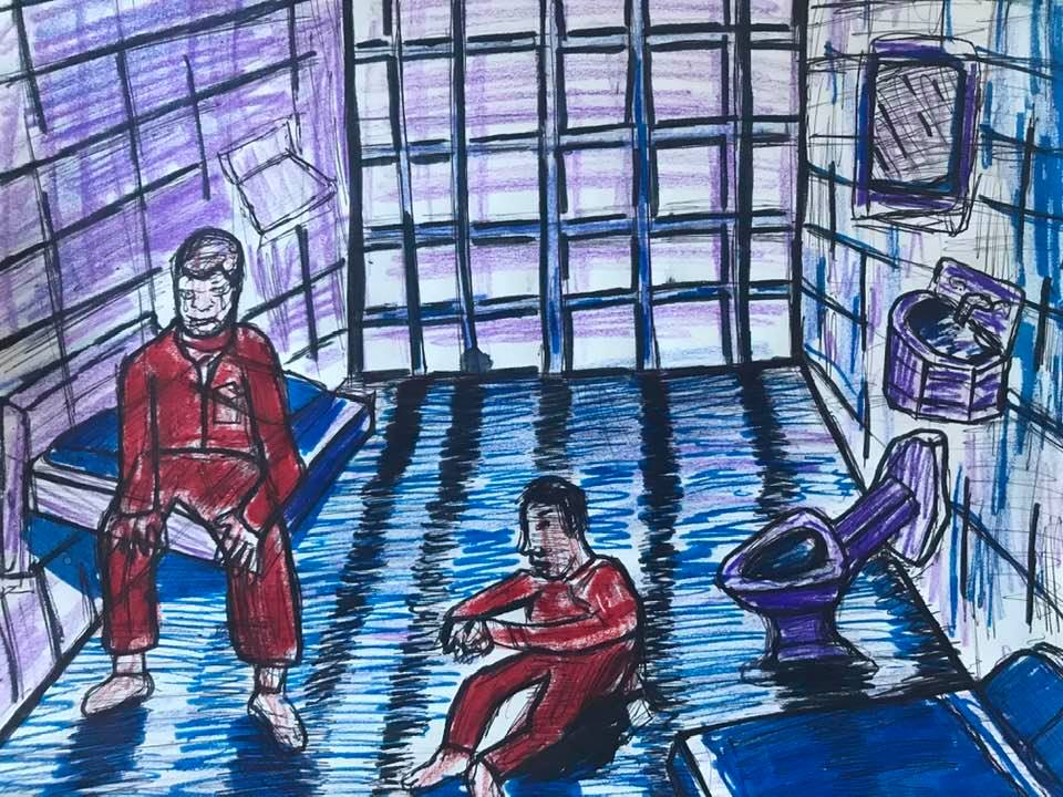 An illustration of two people in red jumpsuits sitting in a prison cell. Bars can be seen behind them, enclosing them into the small space.