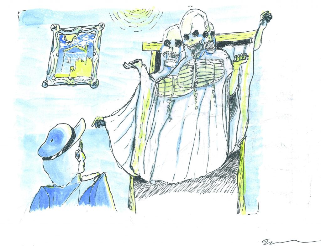 A watercolor of three ghosts in a window. In the foreground a person in a hat looks up at them.