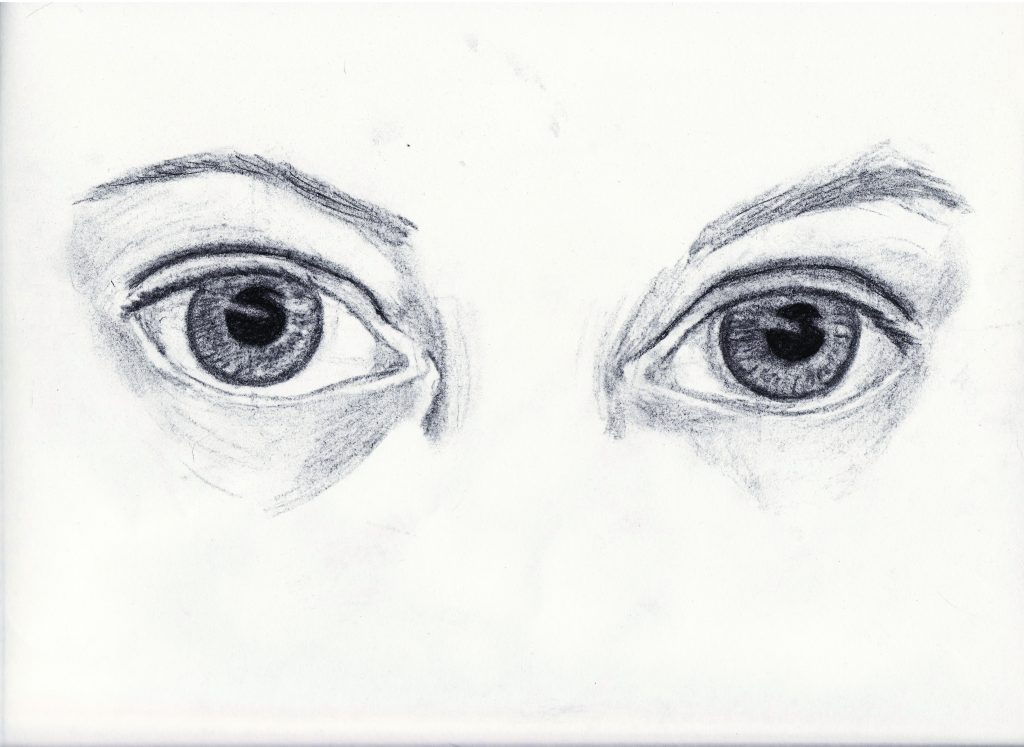 A pair of eyes, sketched in pencil.