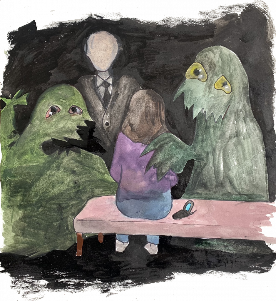 A painted illustration of a woman sitting on a bench. Two friendly green monsters comfort her, while she stares at an ominous figure in front of her—a white man in a black suit.