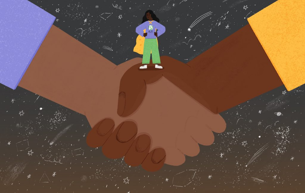 A digital illustration of a brown person  in a cape standing on top of a pair of Black and brown hands, shaking hands. The background is gray with stars and constellations.