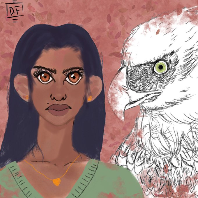 A digital image of a girl with dark hair and brown eyes. An eagle sits in the frame next to her, staring out at the viewer.
